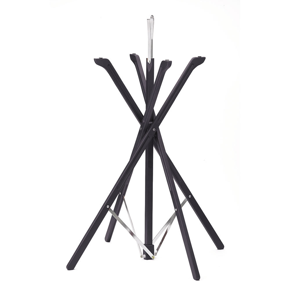 "Tablecraft 335WBK 35"" Folding Tray Stand w/ Rubber Grips, Black Wood Finish"