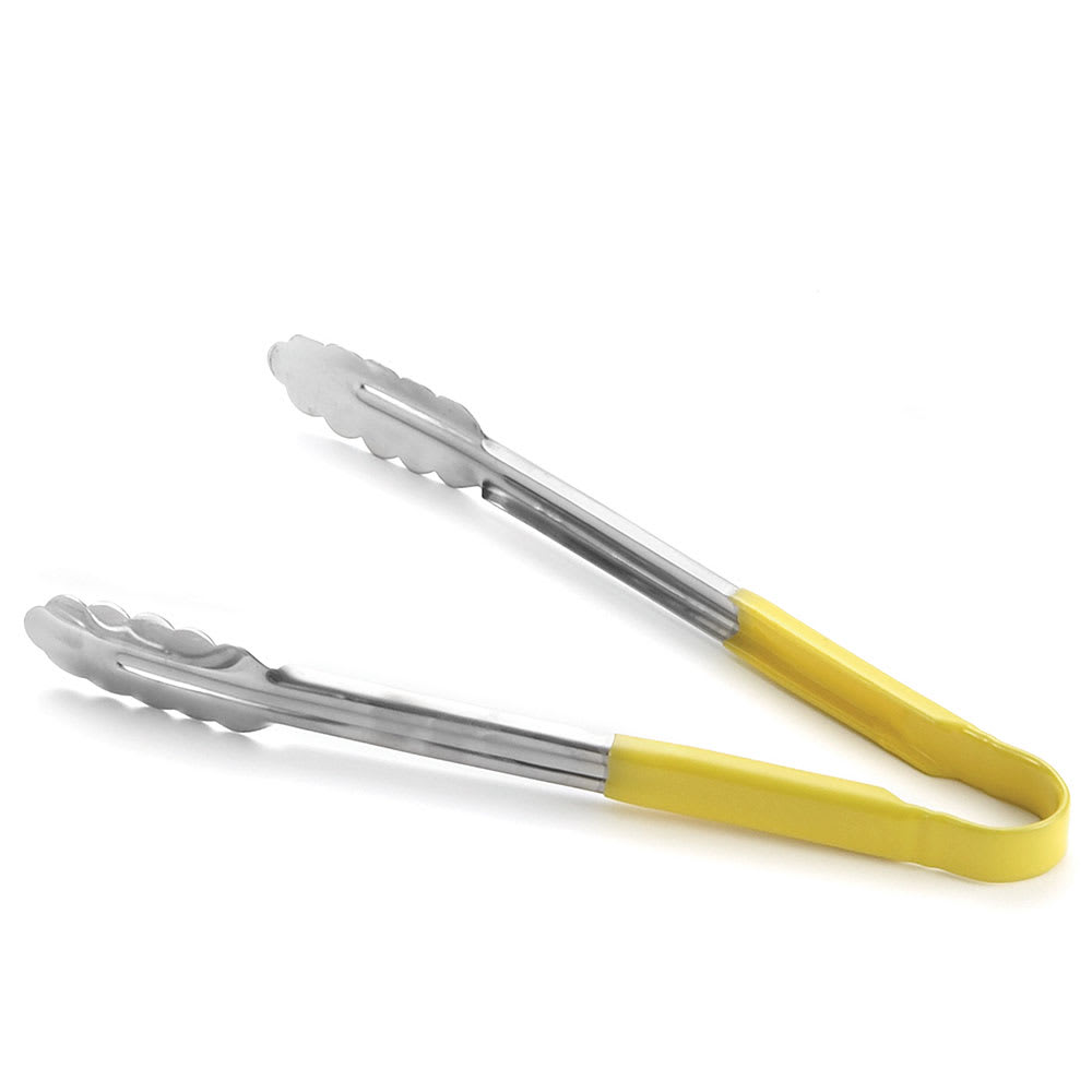 "Tablecraft 3774Y 9-1/2"" Yellow Tong w/ Spring Steel Construction, Vinyl Coated"