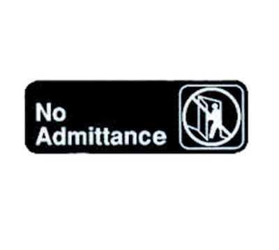 """Tablecraft 394507 No Admittance Sign - 3"""" x 9"""", Adhesive Back"""