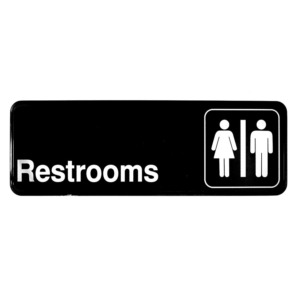 """Tablecraft 394517 3 x 9"""" Sign, Restrooms, Adhesive Back"""