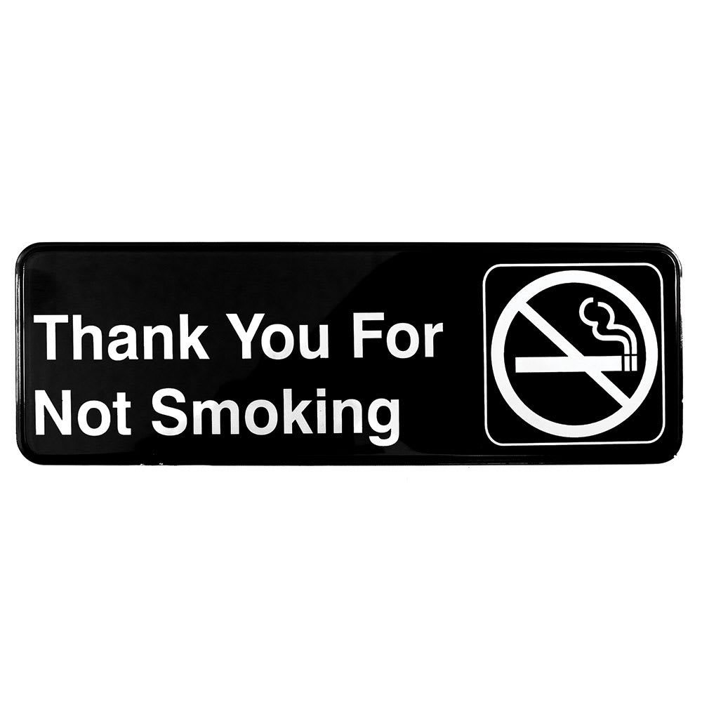 """Tablecraft 394521 3 x 9"""" Sign, Thank You for Not Smoking, Adhesive Back"""