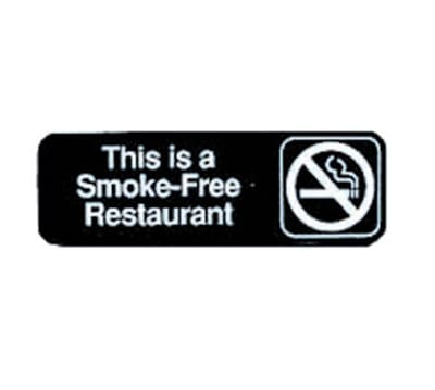"""Tablecraft 394524 3 x 9"""" Sign, This Is A Smoke-Free Restaurant, Adhesive Back"""