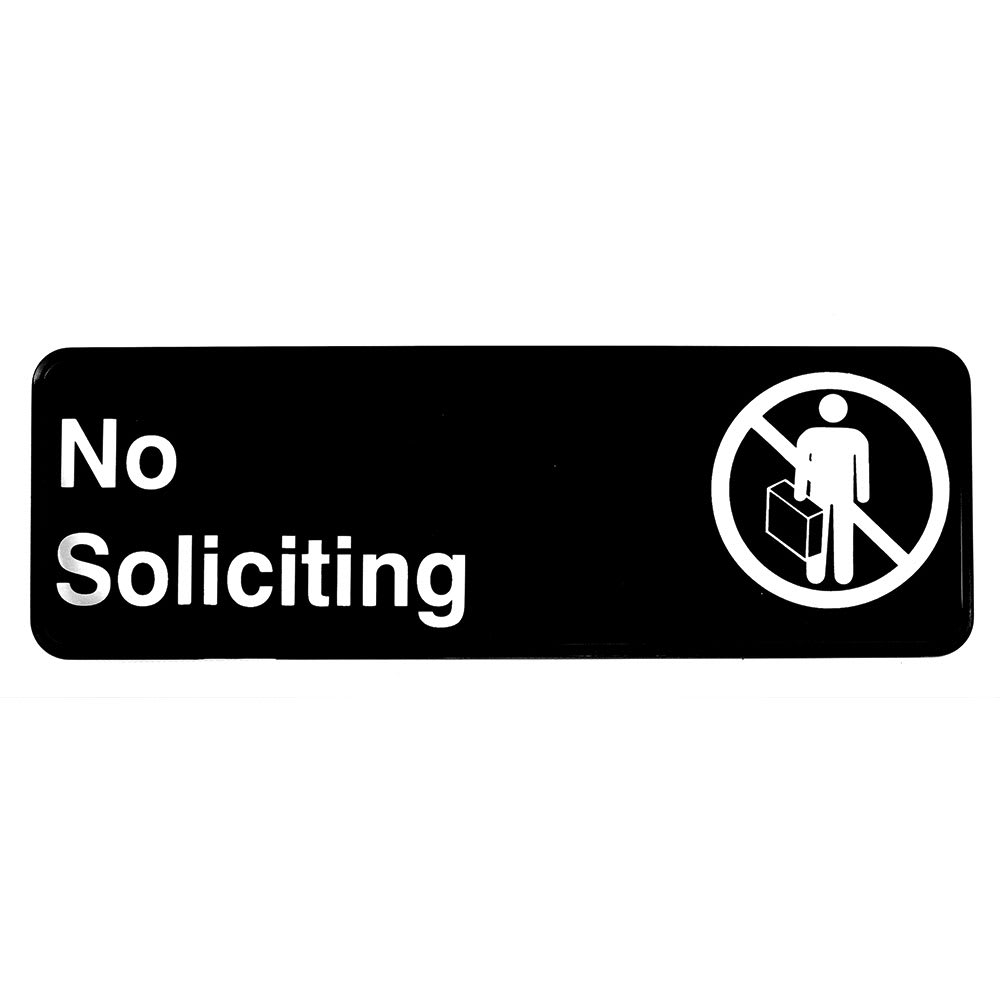 "Tablecraft 394527 3 x 9"" Sign, No Soliciting, Adhesive Back"