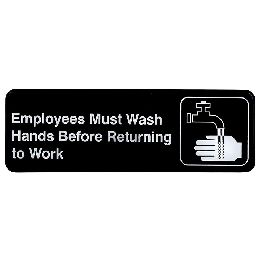 "Tablecraft 394530 3 x 9"" Sign, Employees Must Wash Hands Before Returning To Work"