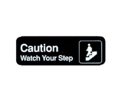 "Tablecraft 394544 3 x 9"" Sign, Caution / Watch Your Step, Adhesive Back"