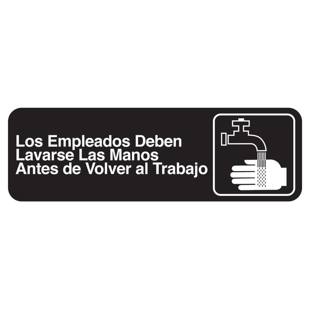 "Tablecraft 394545 Los Empleados Sign - 3"" x 9"", White on Black"