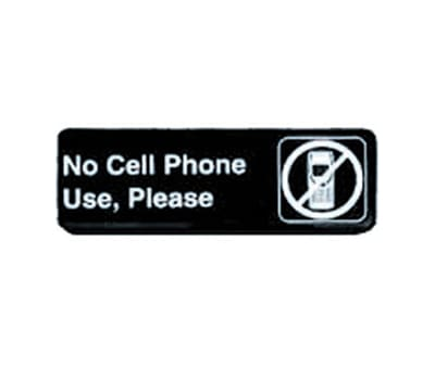 """Tablecraft 394549 3 x 9"""" Sign, No Cell Phone Use, Please, White On Black"""