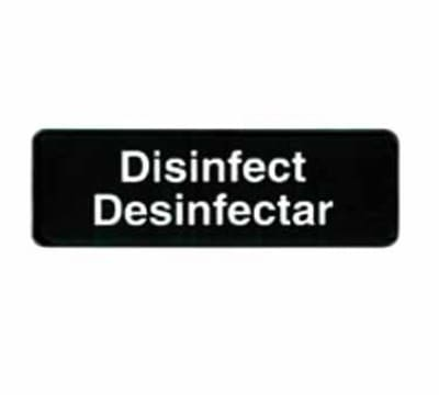 """Tablecraft 394553 3 x 9"""" Sign, Disinfect / Disinfectar, White On Black"""