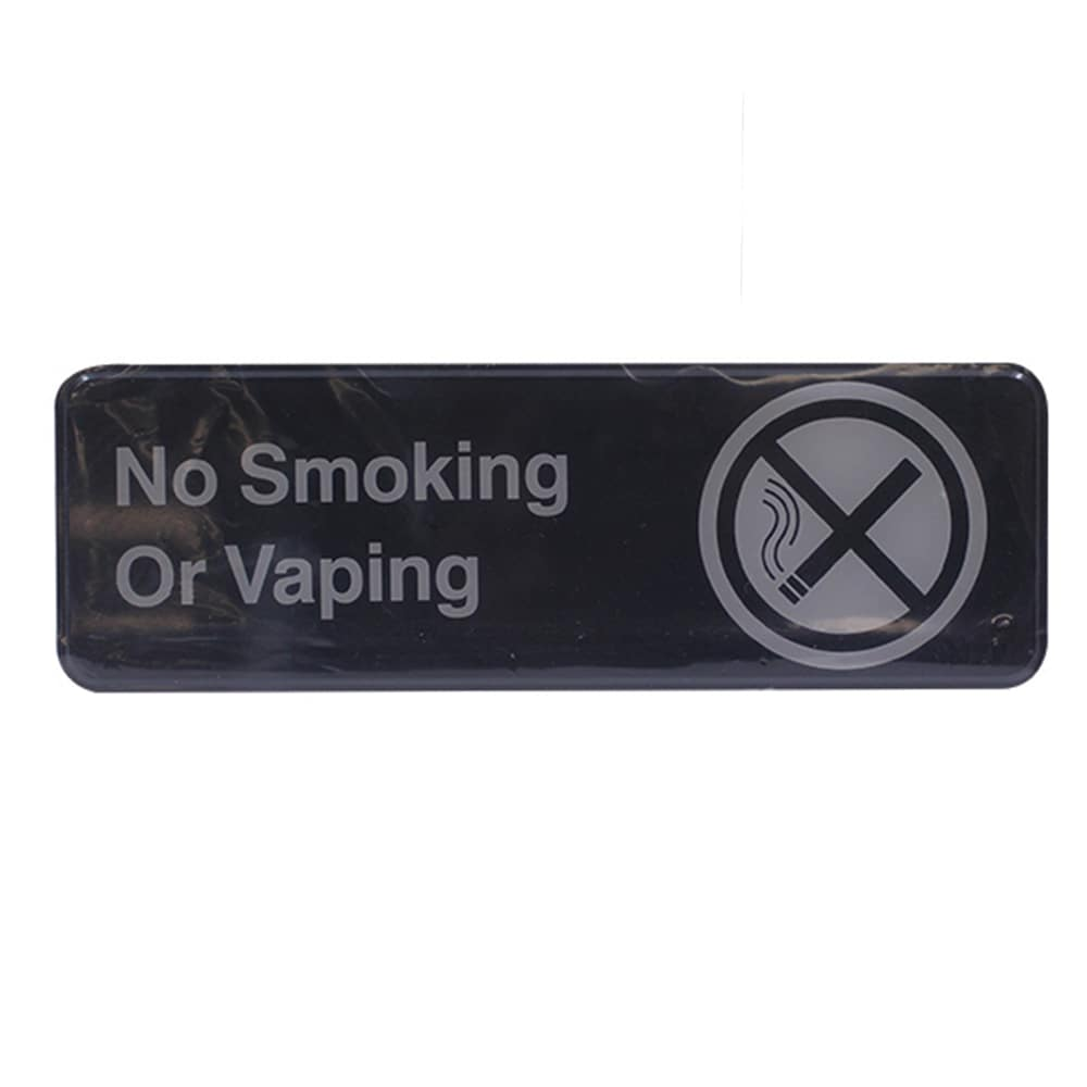 "Tablecraft 394564 ""No Smoking or Vaping Sign"" - 3"" x 9"", Plastic, Black"