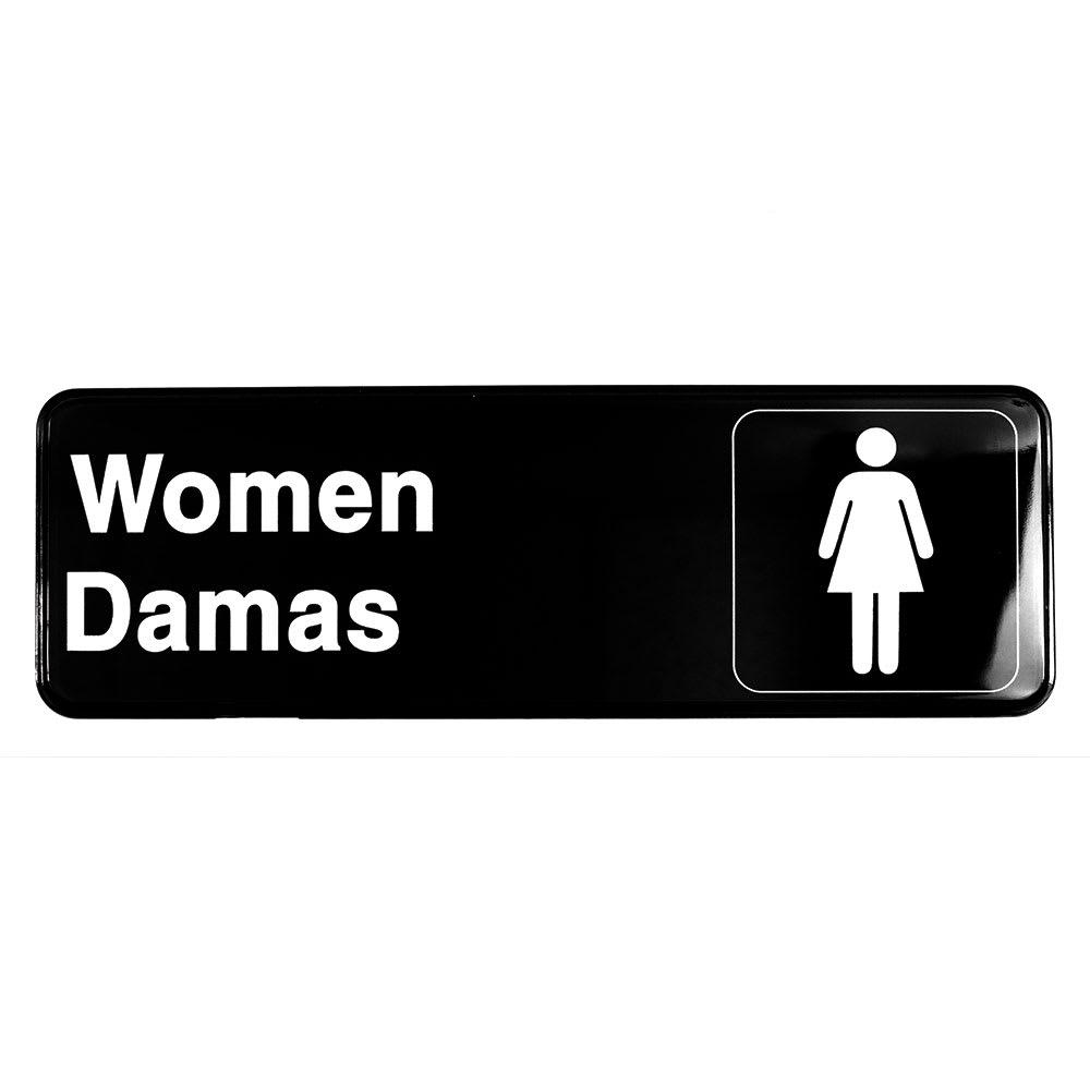 "Tablecraft 394567 3 x 9"" Sign, Women / Damas, White On Black"