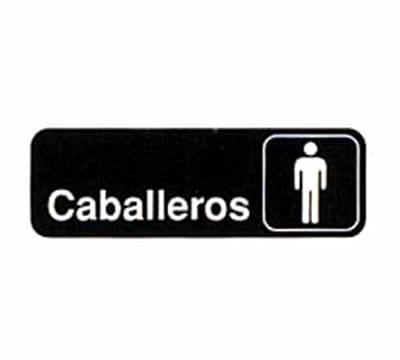 Tablecraft 394575 3 x 9-in Sign, Caballeros / Men, White On Black