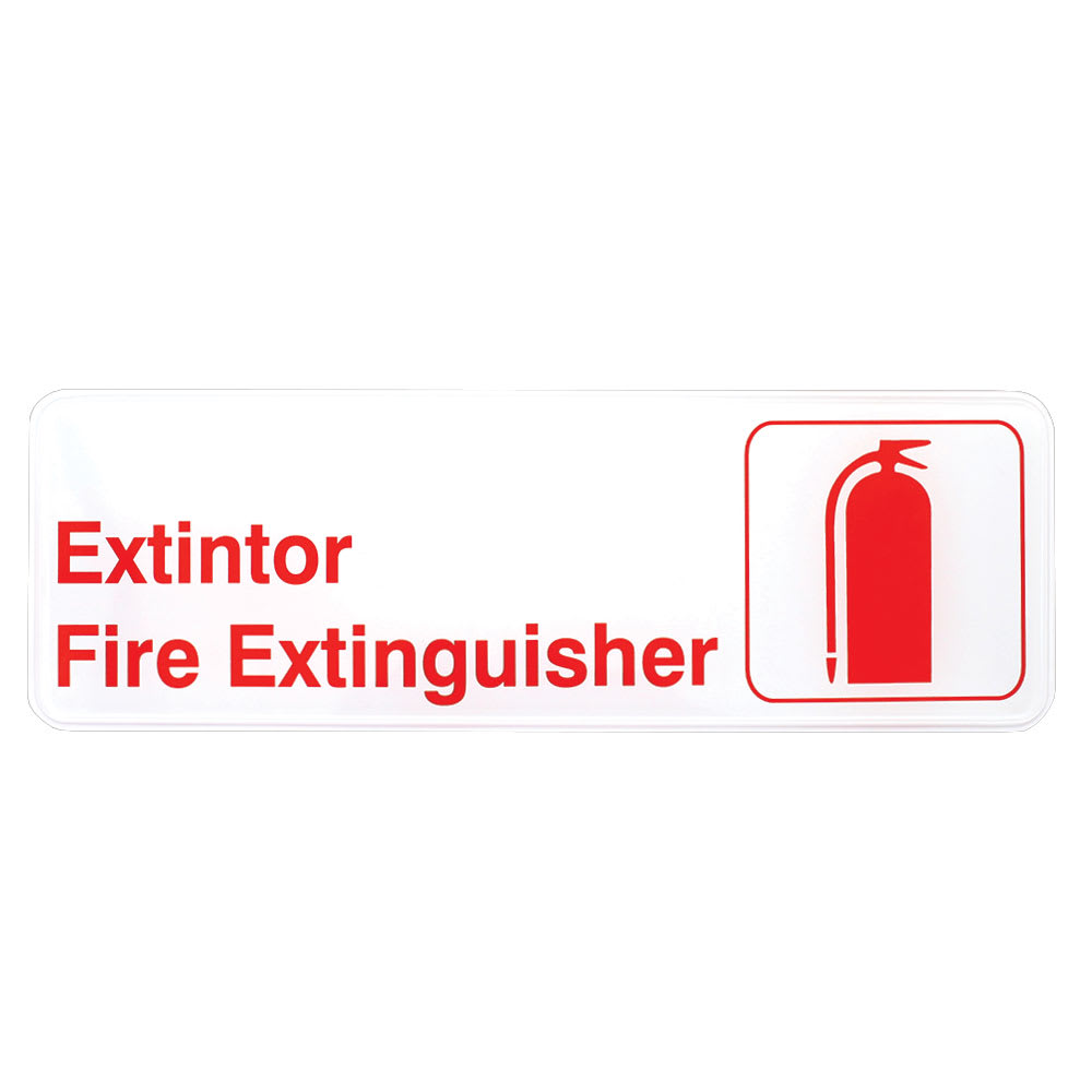 "Tablecraft 394582 Extintor/Fire Extinguisher Sign - 3"" x 9"", Red On White"