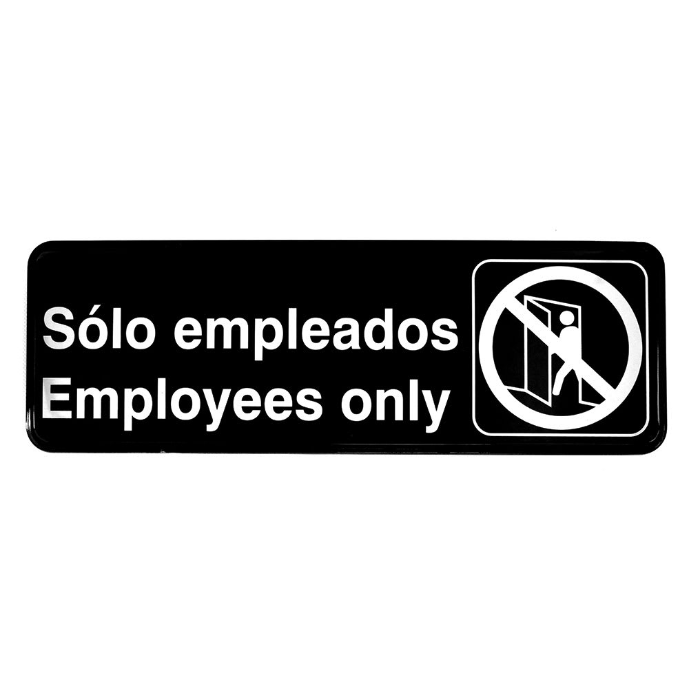 "Tablecraft 394586 Solo empleados/Employees Only Sign - 3"" x 9"", White On Black"