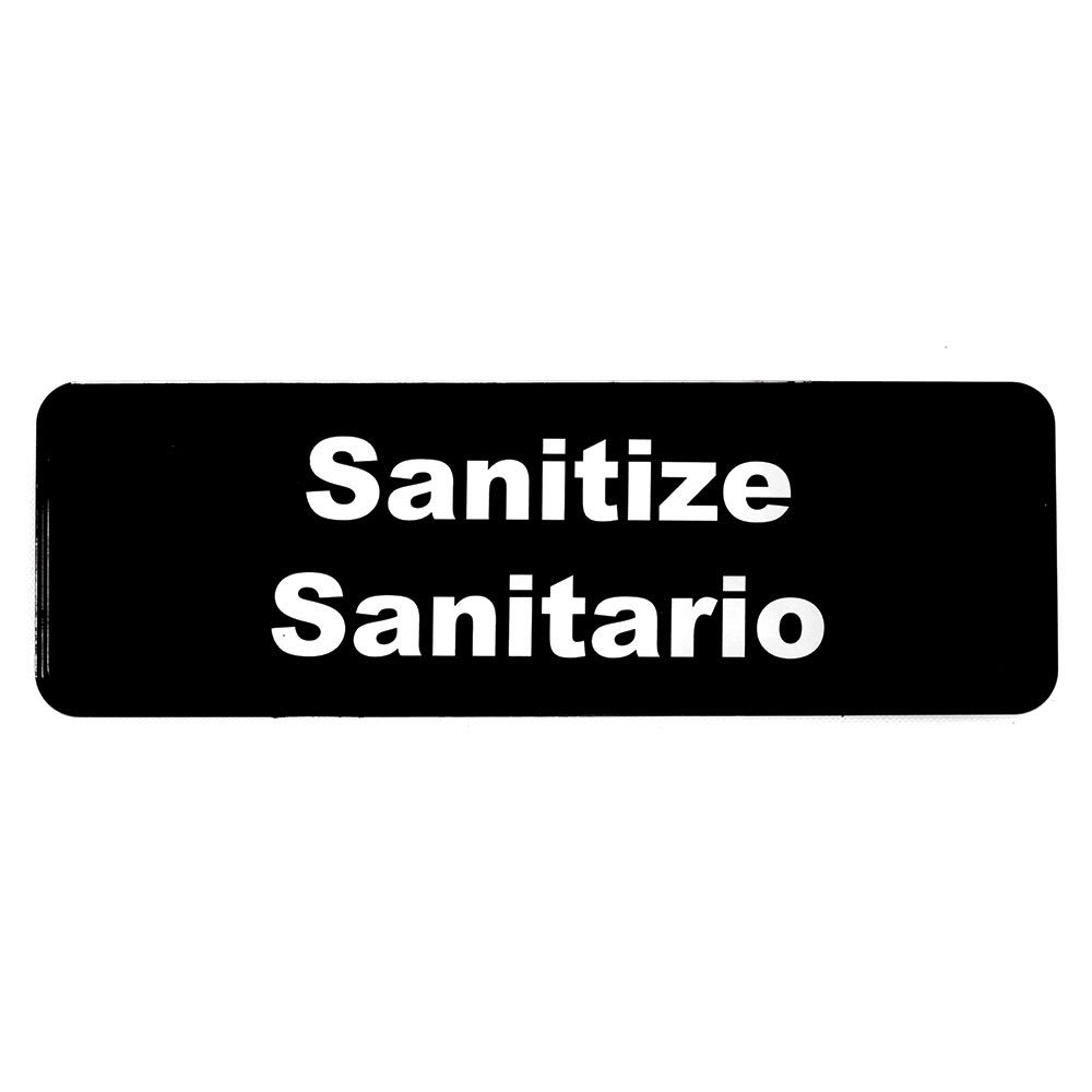 "Tablecraft 394595 Sanitize/Sanitario Sign - 3"" x 9"""