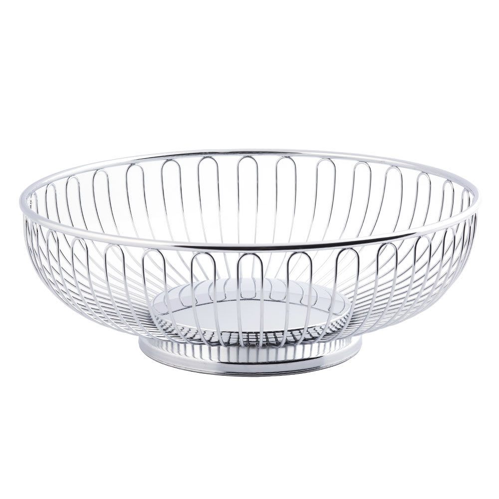 "Tablecraft 4175 Round Chalet Basket, 9 3/4 x 3"", Chrome Plated"