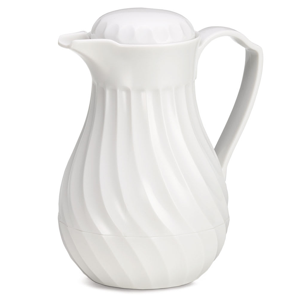 Tablecraft 447 64 oz Coffee Decanter w/ Color Tag Set, White Plastic Swirl
