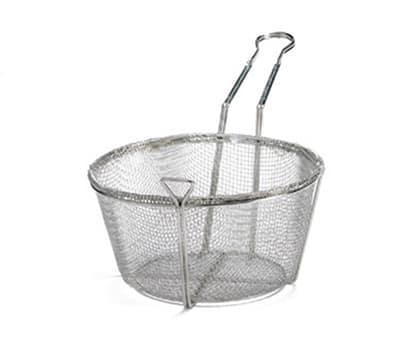 """Tablecraft 488 9.5"""" Round Fryer Basket, Nickel Plated"""