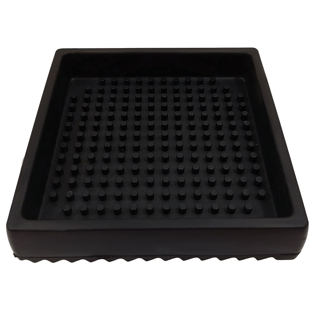 "Tablecraft 4SBK 4.5"" Square Drip Tray - Rubber, Black"