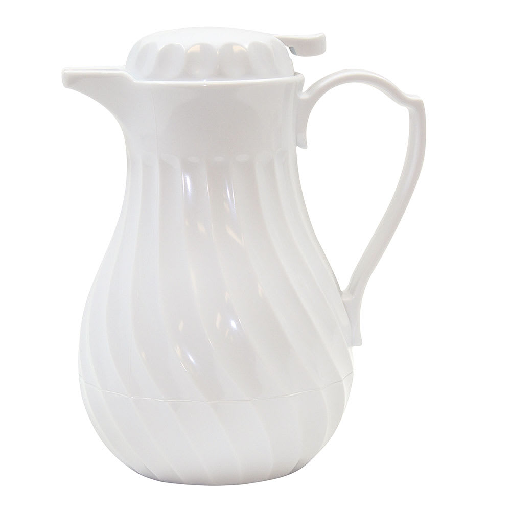 Tablecraft 542 20-oz Coffee Decanter, White Plastic Swirl, Thumb Press