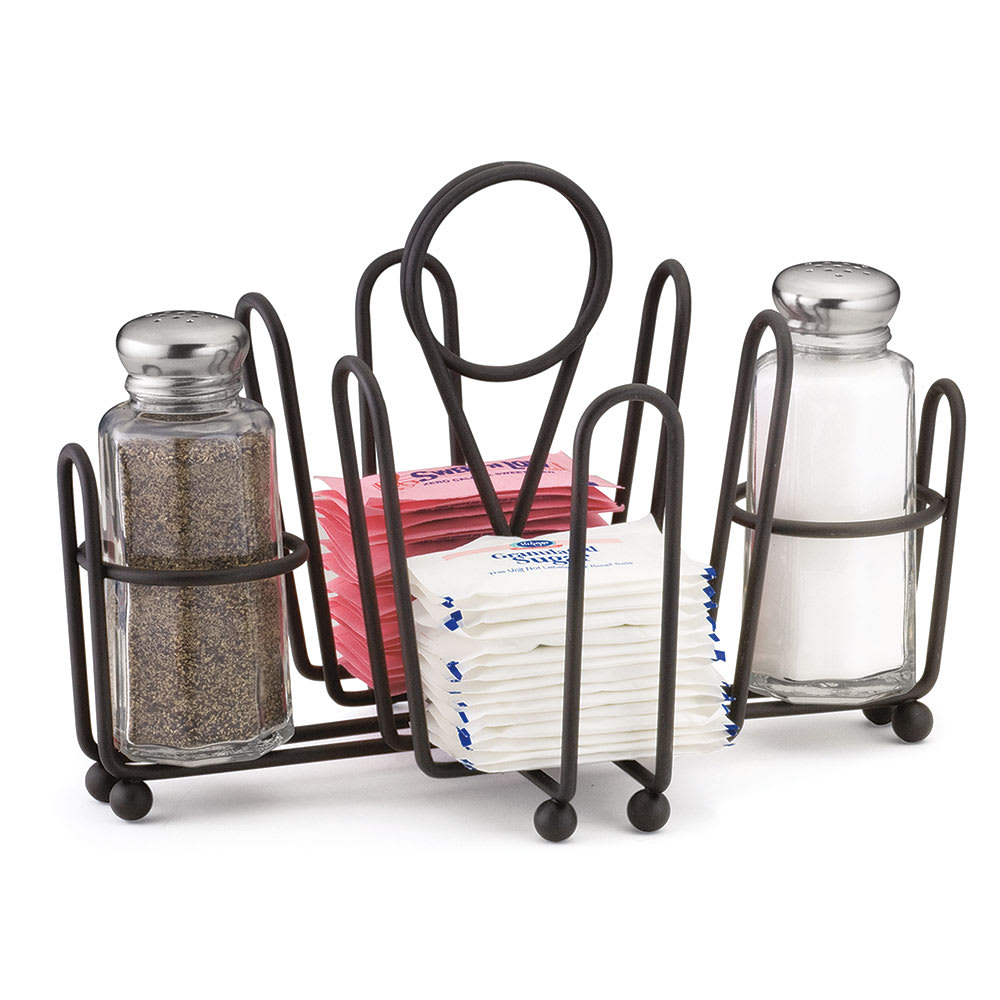 "Tablecraft 591CBK Black Metal Combination Rack, Fits 1-5/8"" Salt/Pepper Shakers"