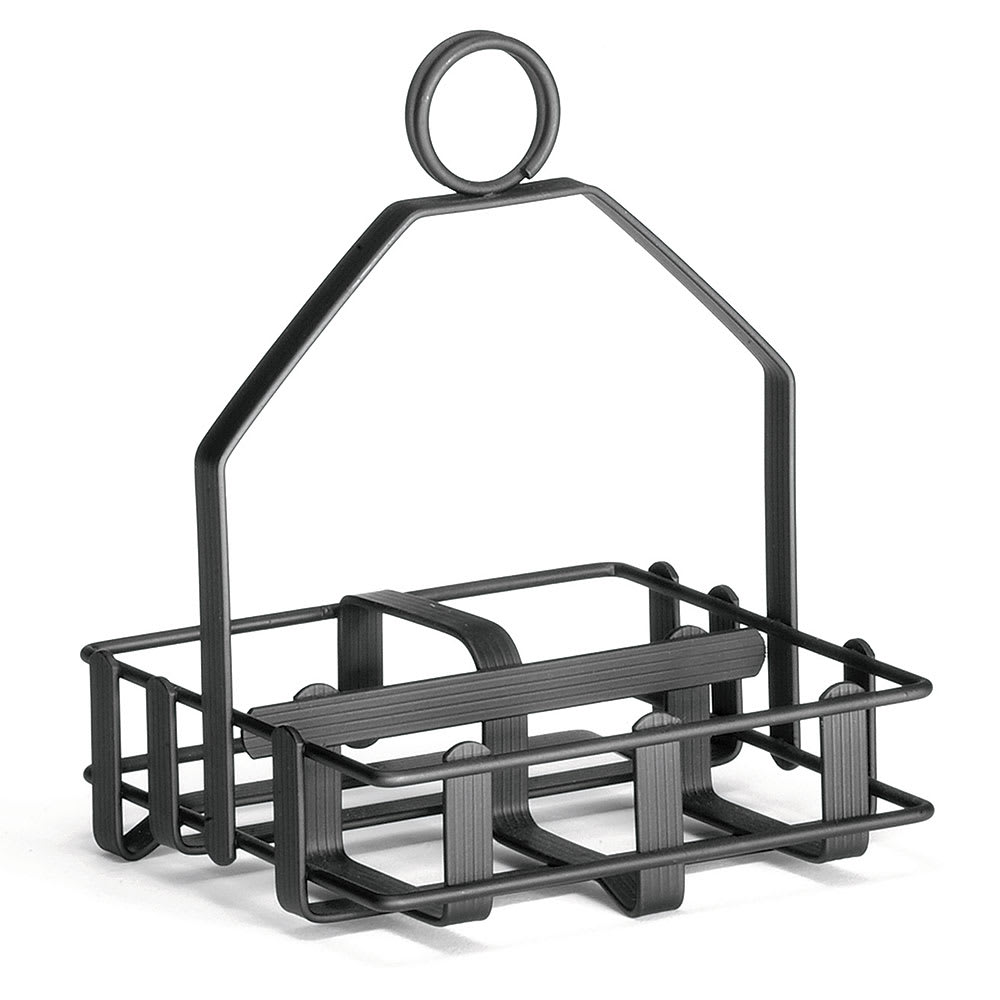 "Tablecraft 609RBK Black Metal Condiment Rack, Fits 2 1/8"" Salt Pepper Shakers"