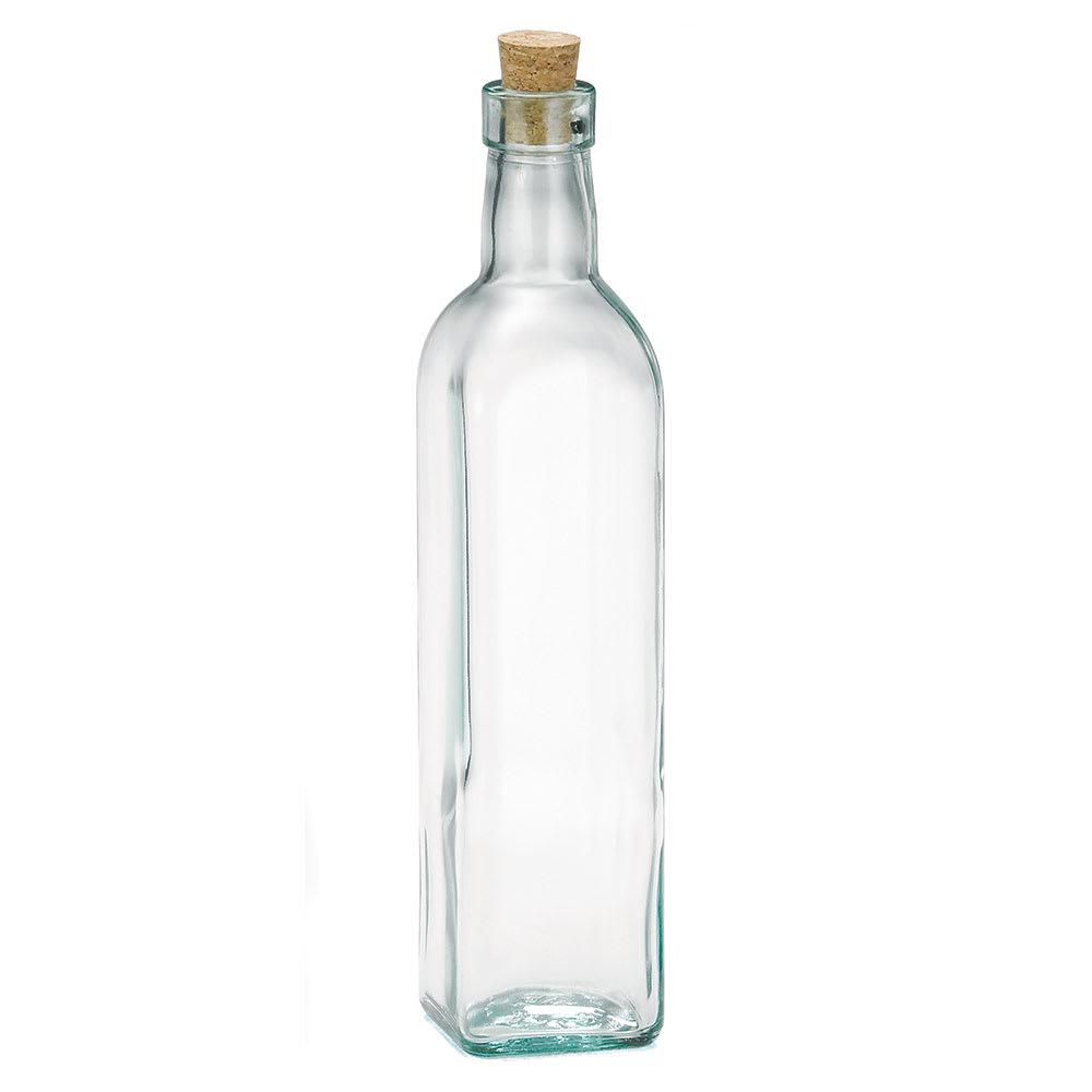 Tablecraft 616 16 oz Prima Green Glass Olive Oil Bottle w/ Cork Stopper, Square