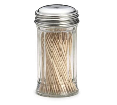 Tablecraft 653 Toothpick Dispenser w/ Fluted Glass, 3 Hole Stainless Steel Top