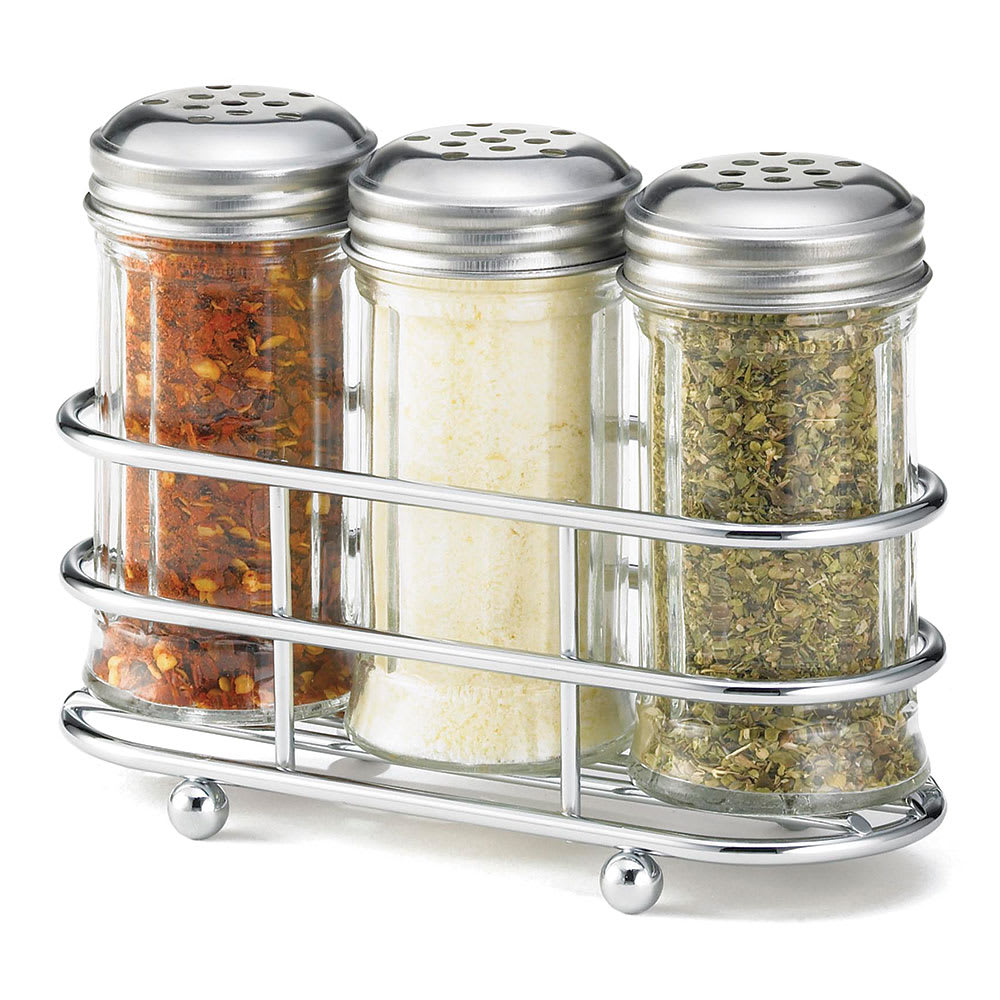 Tablecraft 659N 2 oz Fluted Shaker Set w/ Rack, Stainless Steel Tops