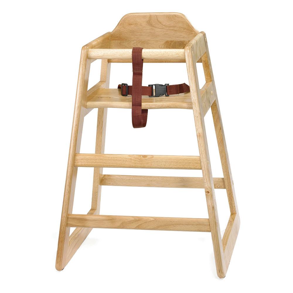 """Tablecraft 65A 26.75"""" Stackable High Chair w/ Waist Strap - Wood, Natural"""
