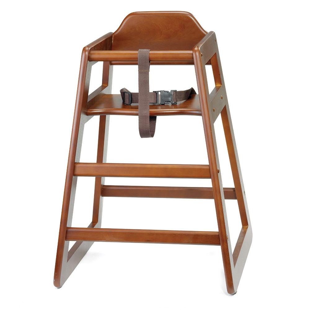 "Tablecraft 66 26.75"" Stackable High Chair w/ Waist Strap - Wood, Walnut"