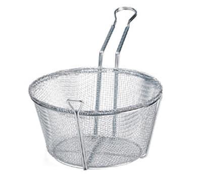 """Tablecraft 687 8.5"""" Round Fryer Basket, Nickle Plated"""