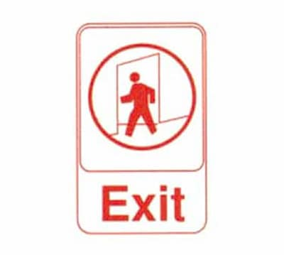 "Tablecraft 695609 Exit Sign - 6"" x 9"", Red on White"