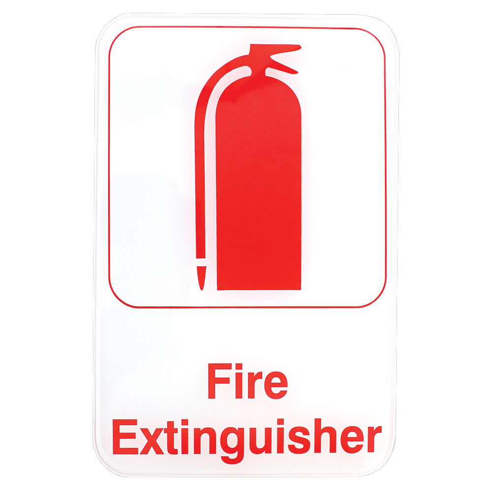 """Tablecraft 695618 6 x 9"""" Sign, Fire Extinguisher, Red on White, Adhesive Back"""