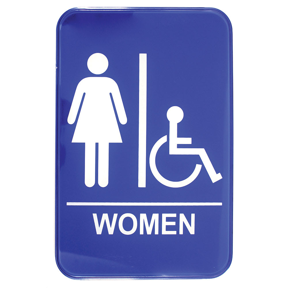 "Tablecraft 695630A 6 x 9"" Sign, Women / Accessible, Handicapped Symbol, Blue and White"