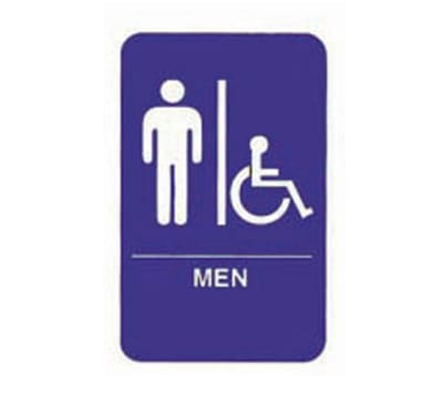 "Tablecraft 695631 6 x 9"" Sign, Men / Accessible, Handicapped Symbol, Blue and White"