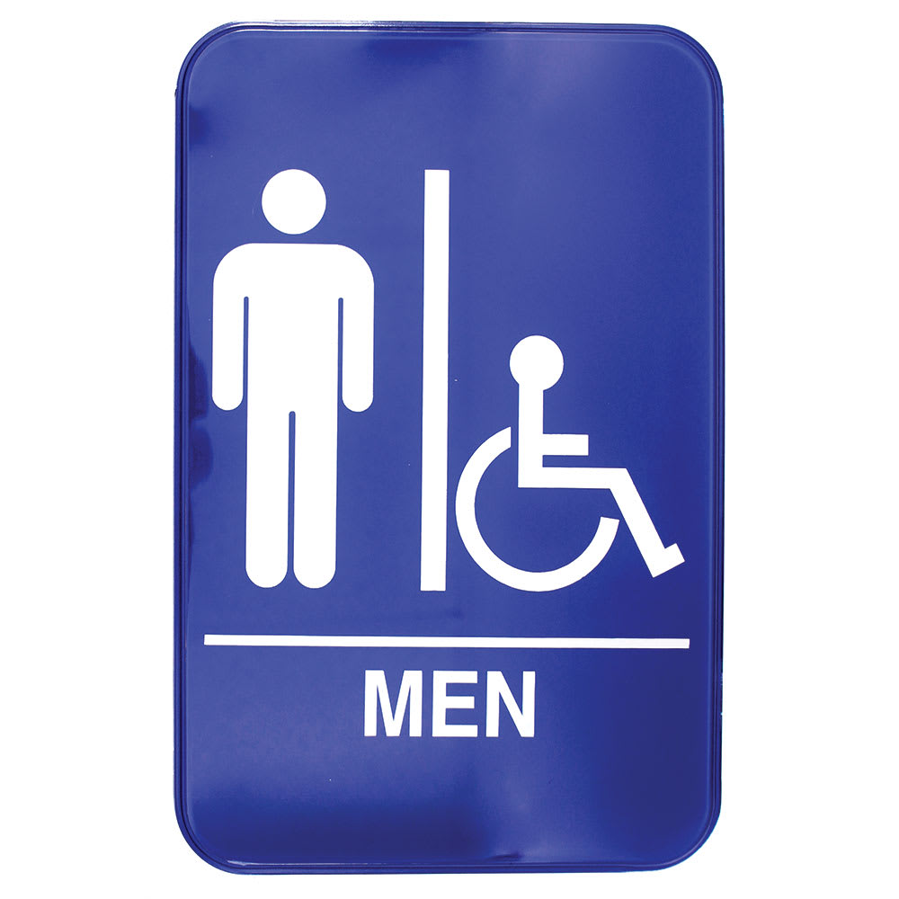 """Tablecraft 695631A 6 x 9"""" Sign, Men / Accessible Sign w/ Handicapped Symbol, Braille"""