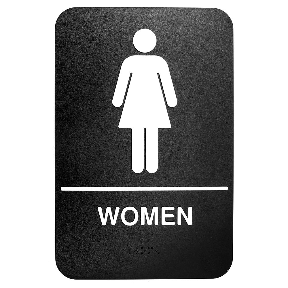 "Tablecraft 695634 6 x 9"" Sign, Women Symbol, White On Black"
