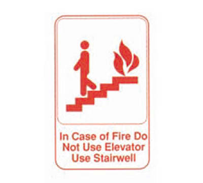 Tablecraft 695640 6 x 9-in Sign, In Case Of Fire Do Not Use Elevator Use Stairwell