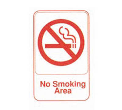 """Tablecraft 695643 6 x 9"""" Sign, No Smoking Area, Red On White"""