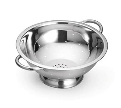 Tablecraft 703 3-Quart Stainless Steel Colander w/ Mirror Finish, Tube Handles
