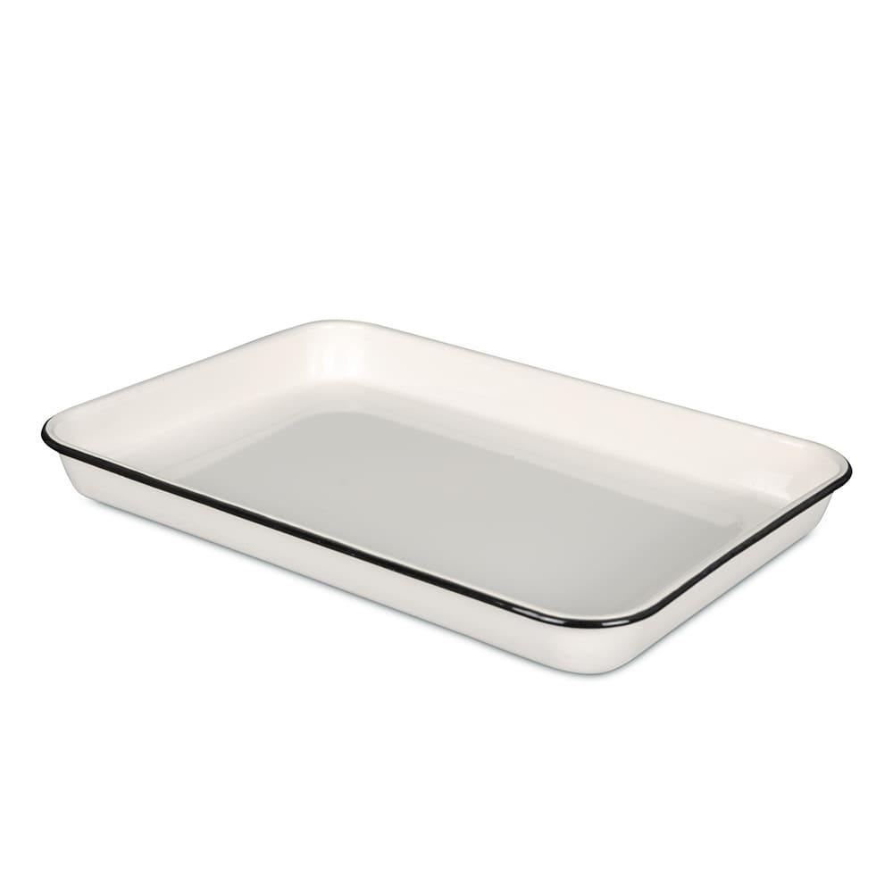 "Tablecraft 80012 Rectangular Serving Tray - 16"" x 11.5"", Porcelain, Creamy White"