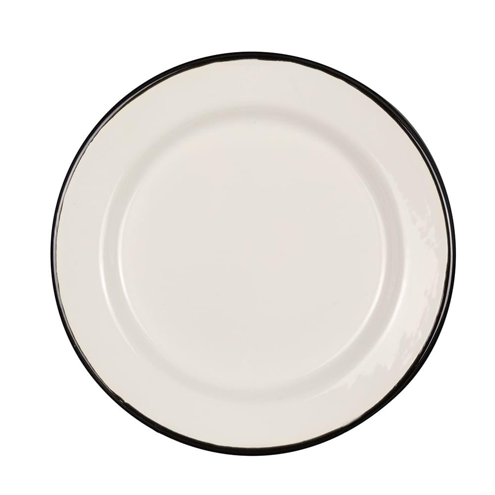 "Tablecraft 80018 8"" Round Enamelware Plate - Porcelain, Creamy White"