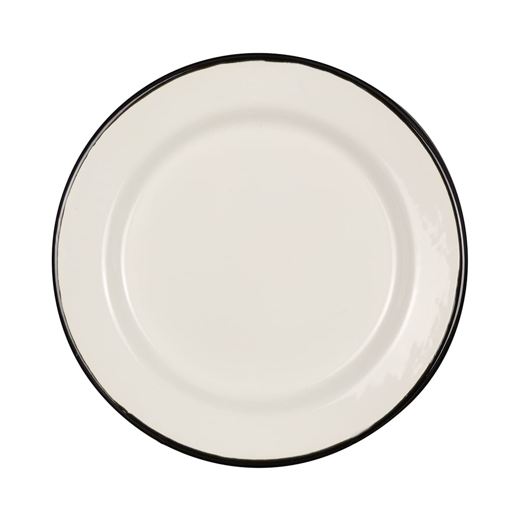 "Tablecraft 80019 10"" Round Enamelware Plate - Porcelain, Creamy White"