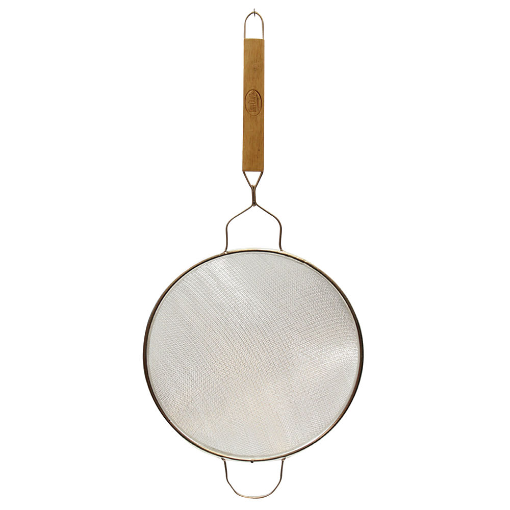 """Tablecraft 84 8"""" Tinned Fine Mesh Strainer w/ Wooden Handle, Double"""