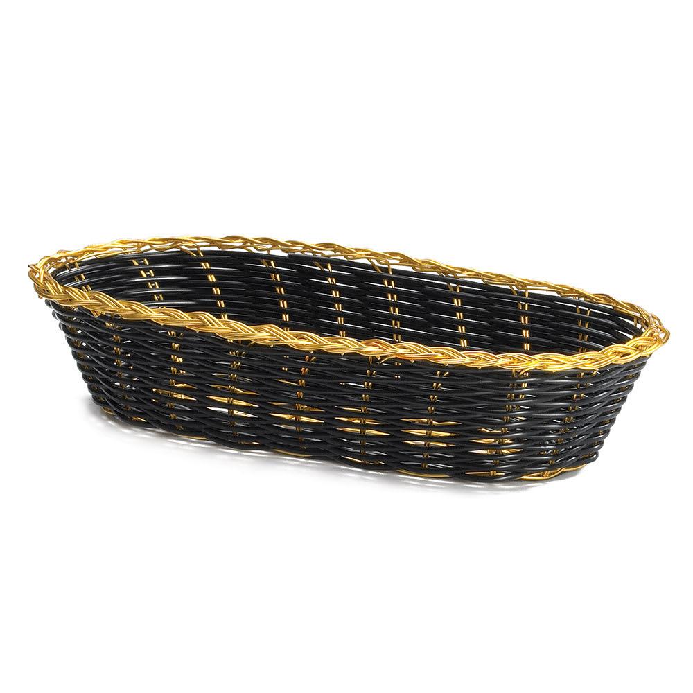 "Tablecraft 917B Oblong Handwoven Basket, 9 x 4 x 2"", Black Vinyl, Gold Trim"