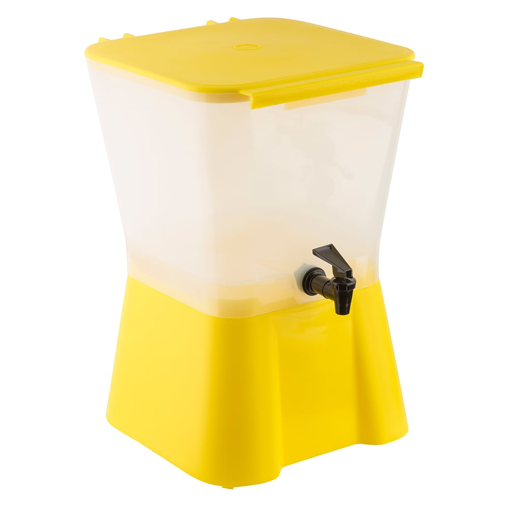 Tablecraft 955 Beverage Dispenser, 3 Gallon, Yellow Base, Poly, Tomlinson Faucet, NSF