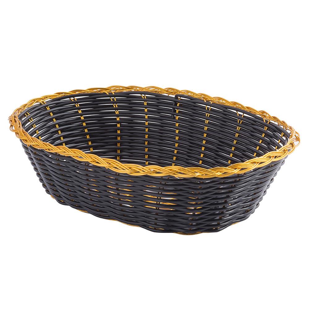 Tablecraft 975B Basket, Oval, Black Vinyl w/ Gold Metal Trim