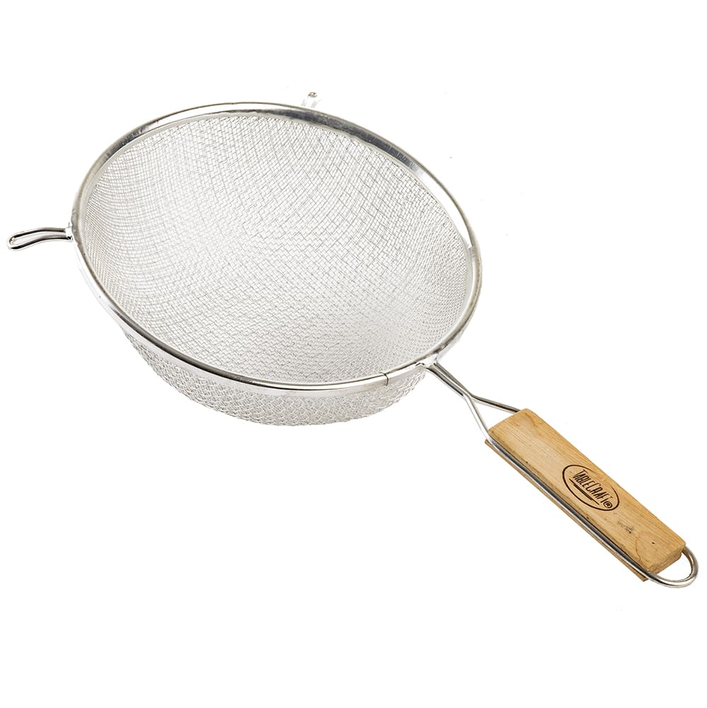 "Tablecraft 98 8"" Double Strainer, Tinned, Wooden Handle"