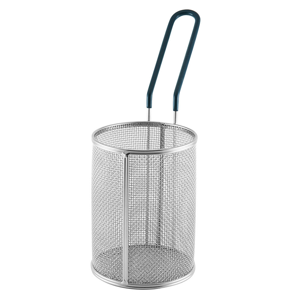 "Tablecraft 984 Round Pasta Basket w/ PVC Handle - 4.5"" x 6"", Stainless"