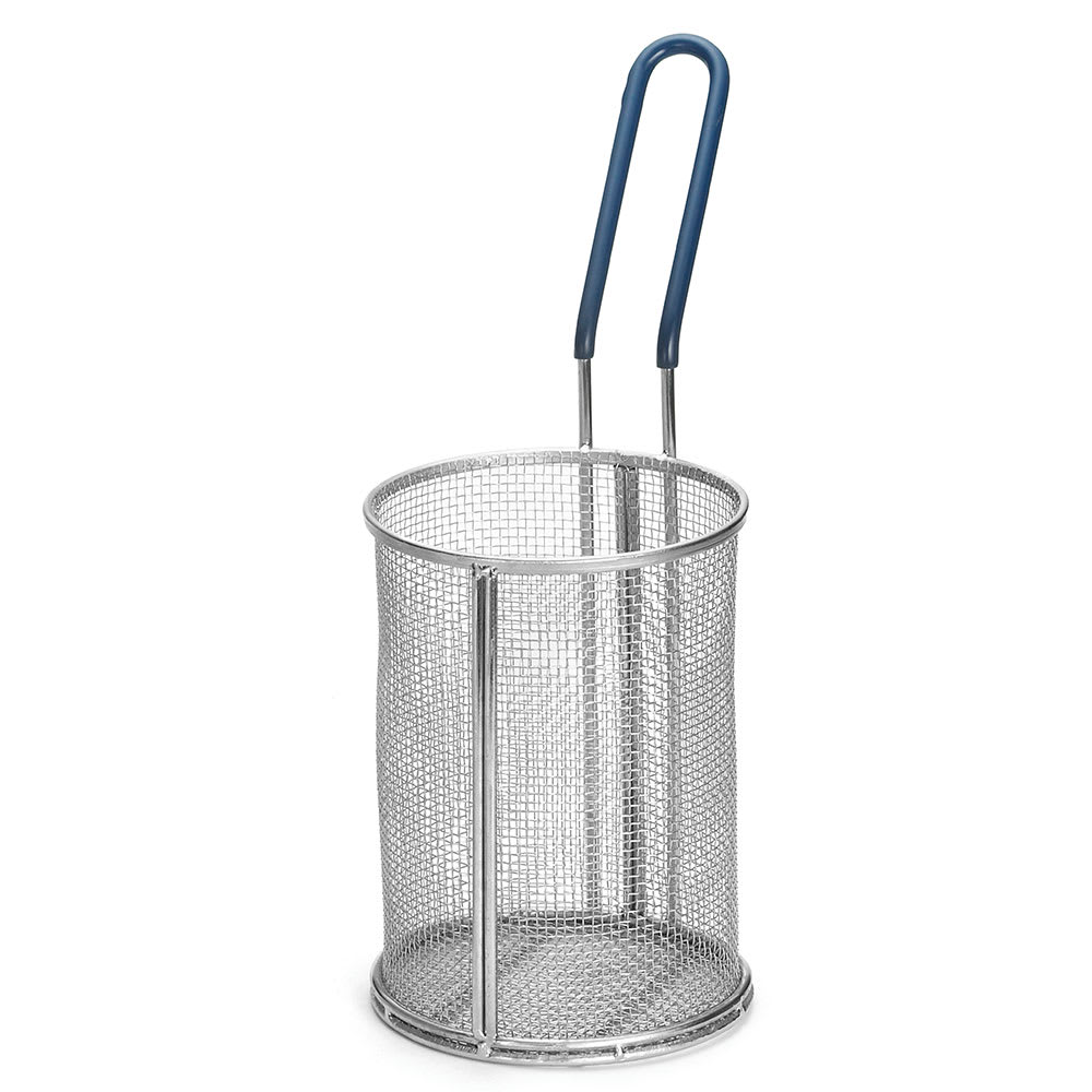 "Tablecraft 985 Stainless Steel Pasta Basket, 5-1/4 x 7"" Round, Blue Handle"